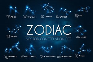 Zodiac Constellations Vector Set.