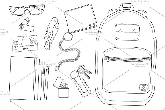 EDC set. Every day items. Vector - Illustrations