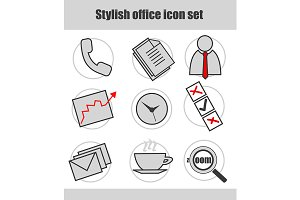 Office. 9 icons set. Vector