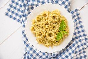 Spaghetti with homemade pesto sauce