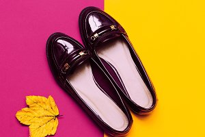 patent leather moccasins.