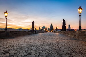 Charles Bridge at sunrise, Prague.