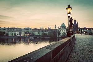 Charles Bridge in Prague. Vintage.