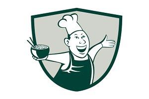 Asian Chef Serving Noodle Bowl