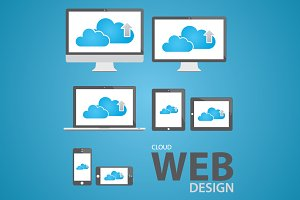 Cloud computing web design icon set