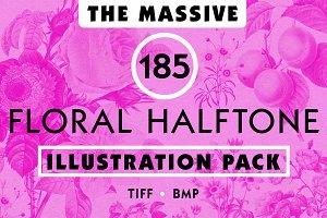 Vintage Floral Halftone Pack