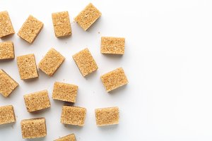 brown cane sugar cubes top view