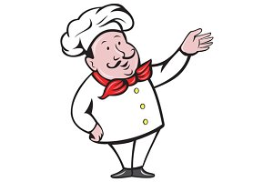 French Chef Welcome Greeting Cartoon