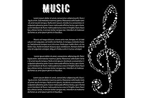 Black and white musical banner