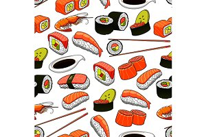 Japanese sushi seamless pattern