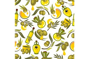 Seamless pattern of olive oil