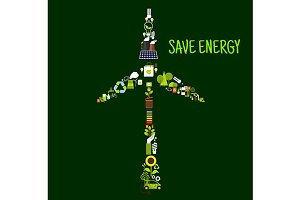 Save energy banner with wind turbine