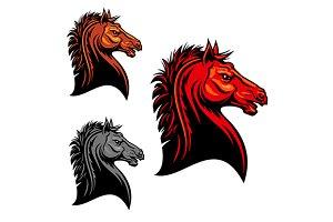 Aggressive mustang horse mascot