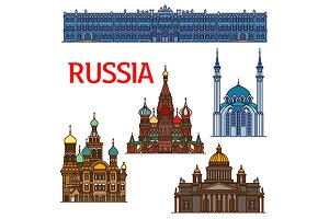 Famous travel landmarks of Russia