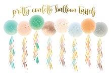 confetti balloon tassels clipart set
