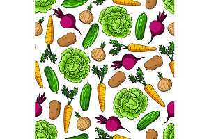 Fresh veggies seamless pattern