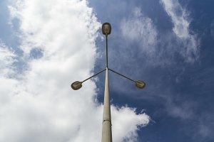 Triple lamppost seen from below