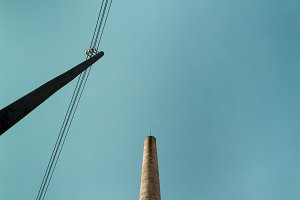 Power line and chimney