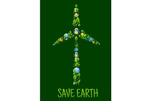 Eco power and green energy icons