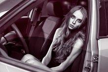 girl sitting in car