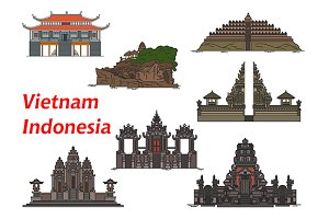 Vietnam and Indonesia travel icons