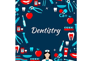 Dentistry poster with medicine icons
