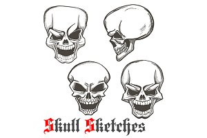 Smiling and winking skulls sketches