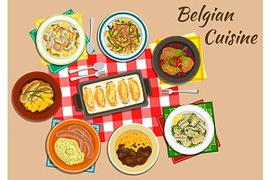 Belgian cuisine dishes and drinks
