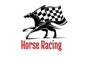 Racehorse with checkered flag