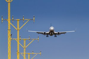 Airplane landing on an airport