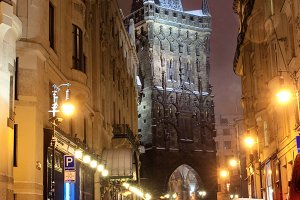 old scenic night street of Prague