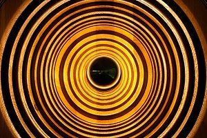 background of wooden circular lamp