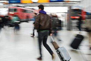 passenger man walking with a bag