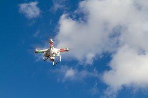 Drone in flight seen from below
