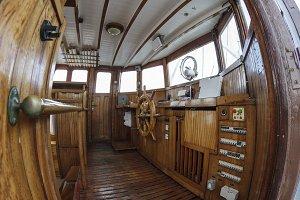 Wheelhouse of and historic ship