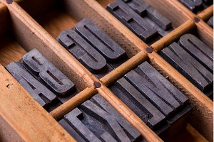 Typesetter drawer: metallic alphabet