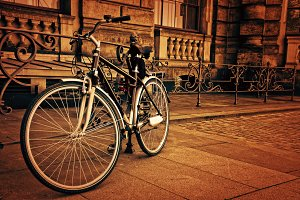vintage retro bicycle in city