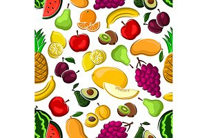 Sweet fruits pattern on white