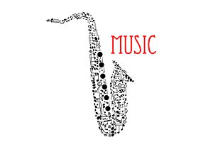 Saxophone shape with musical icons