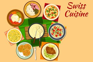 Swiss cuisine dishes and salads
