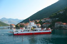 red ferryboat in Montenegro