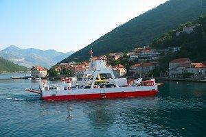 red ferryboat in Montenegro