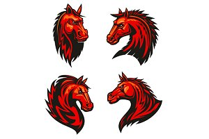 Angry red horse mascots