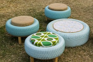 Reused tires as stools