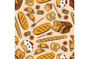 Bakery and pastry seamless pattern