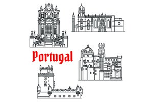 Portugese travel sights icons