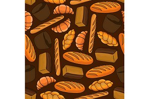 Fresh bread seamless pattern