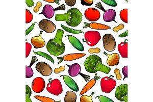 Fresh veggies seamless pattern