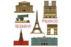 Russia and France landmarks