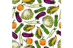 Organic farm vegetables pattern